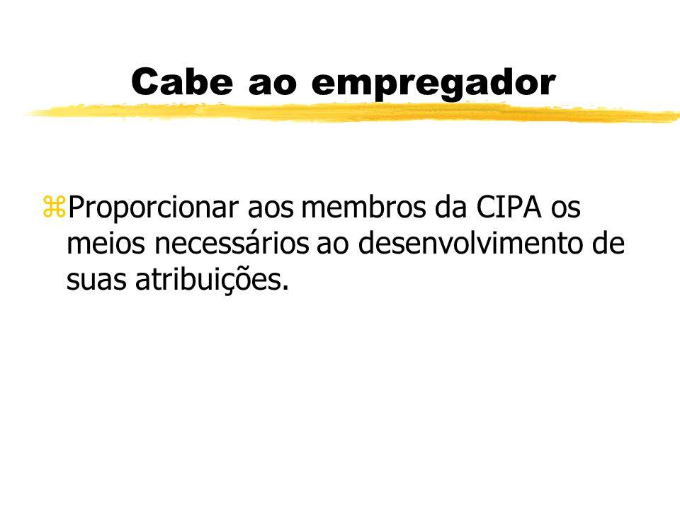Cabe ao empregador Proporcionar aos membros da CIPA os meios necessários ao desenvolvimento de suas atribuições.