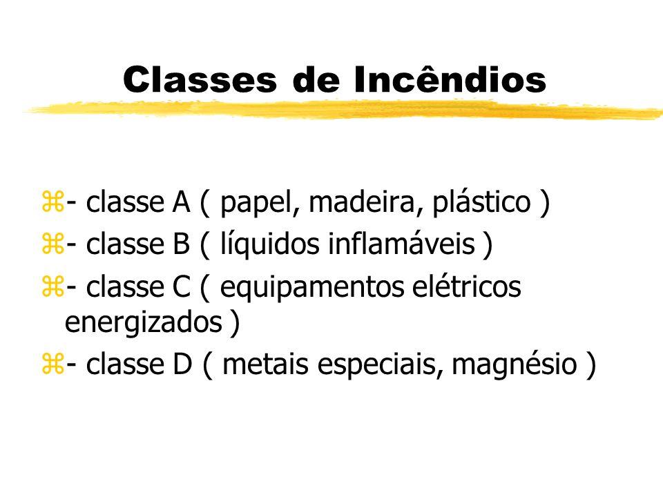 Classes de Incêndios - classe A ( papel, madeira, plástico )