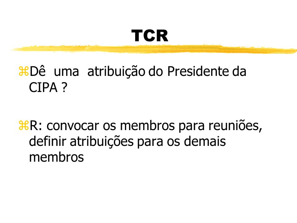 TCR Dê uma atribuição do Presidente da CIPA
