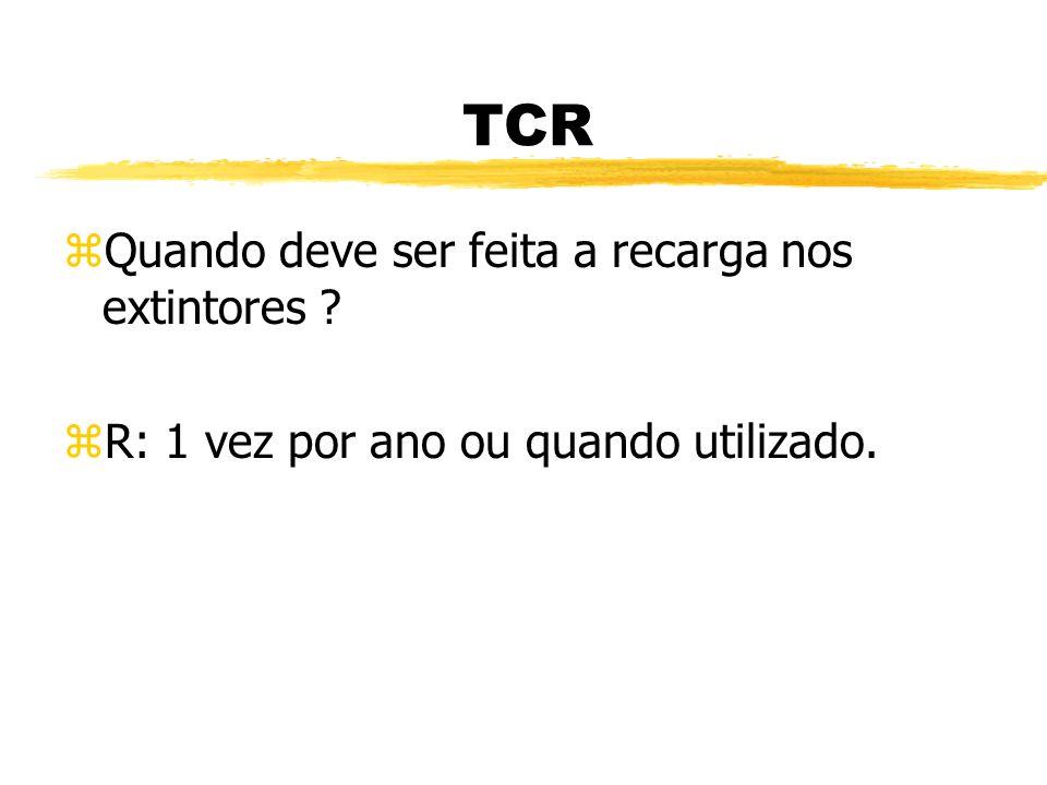 TCR Quando deve ser feita a recarga nos extintores