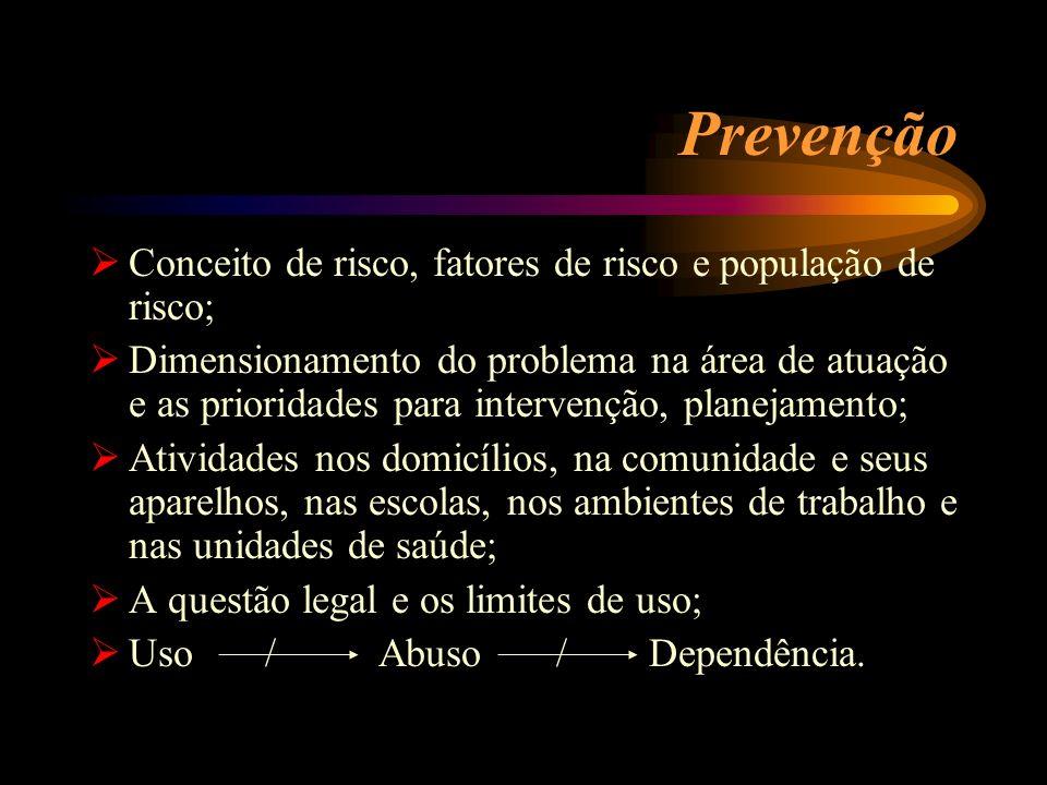 Prevenção Conceito de risco, fatores de risco e população de risco;