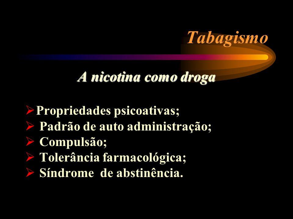 Tabagismo A nicotina como droga Propriedades psicoativas;