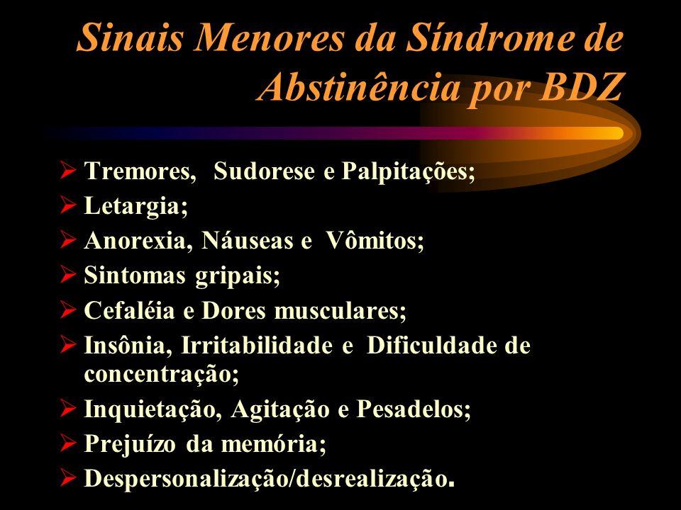 Sinais Menores da Síndrome de Abstinência por BDZ