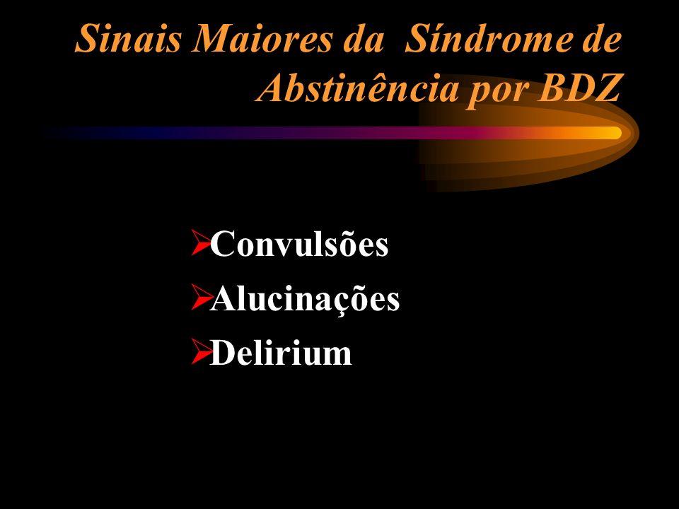 Sinais Maiores da Síndrome de Abstinência por BDZ