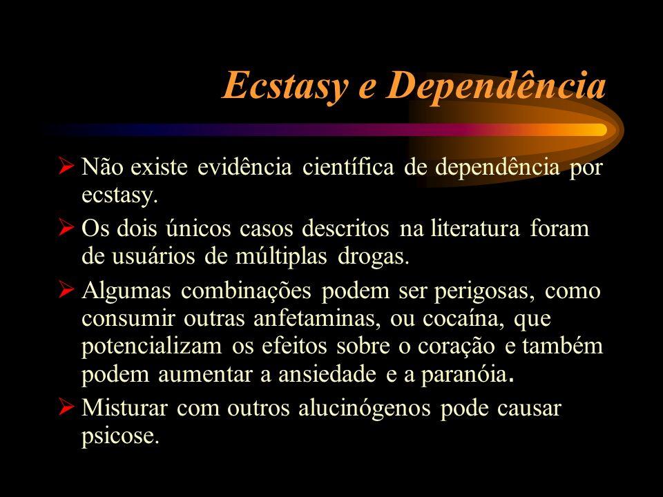 Ecstasy e Dependência Não existe evidência científica de dependência por ecstasy.