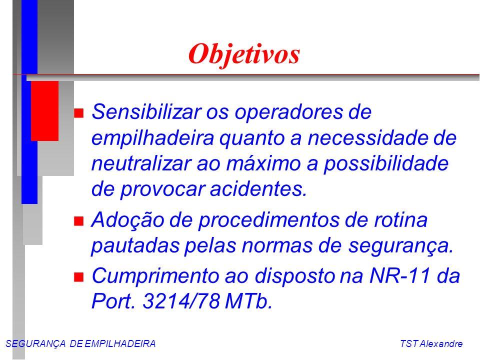 Objetivos Sensibilizar os operadores de empilhadeira quanto a necessidade de neutralizar ao máximo a possibilidade de provocar acidentes.
