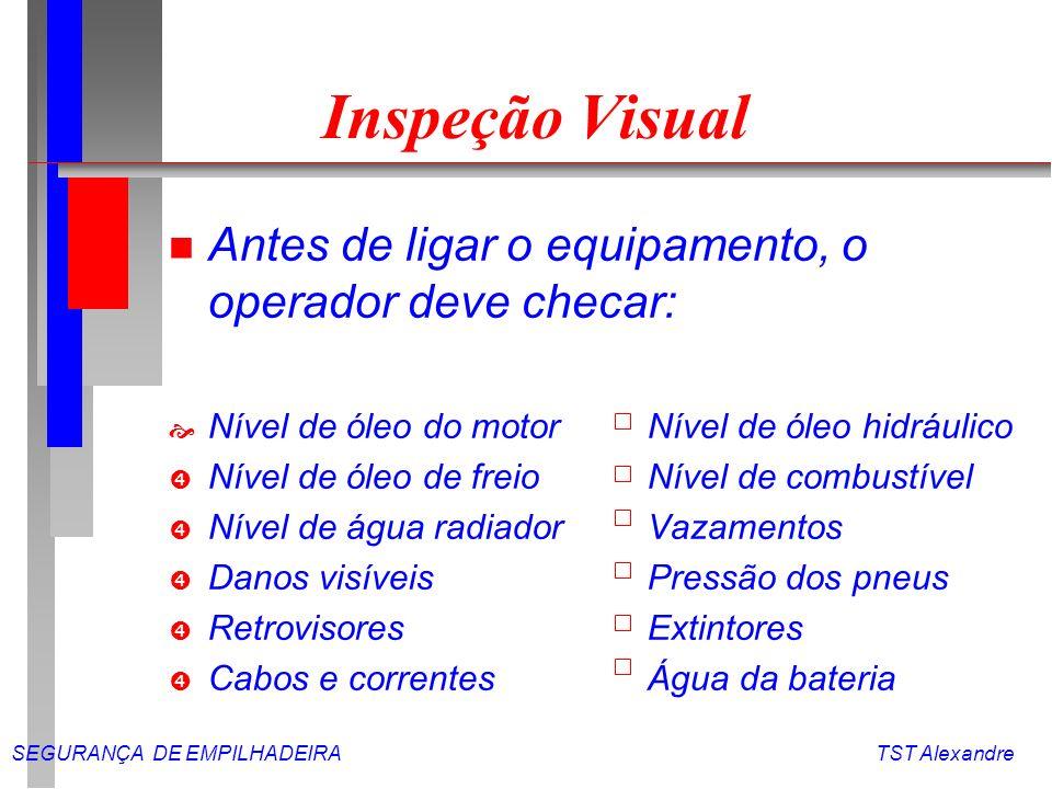 Inspeção Visual Antes de ligar o equipamento, o operador deve checar: