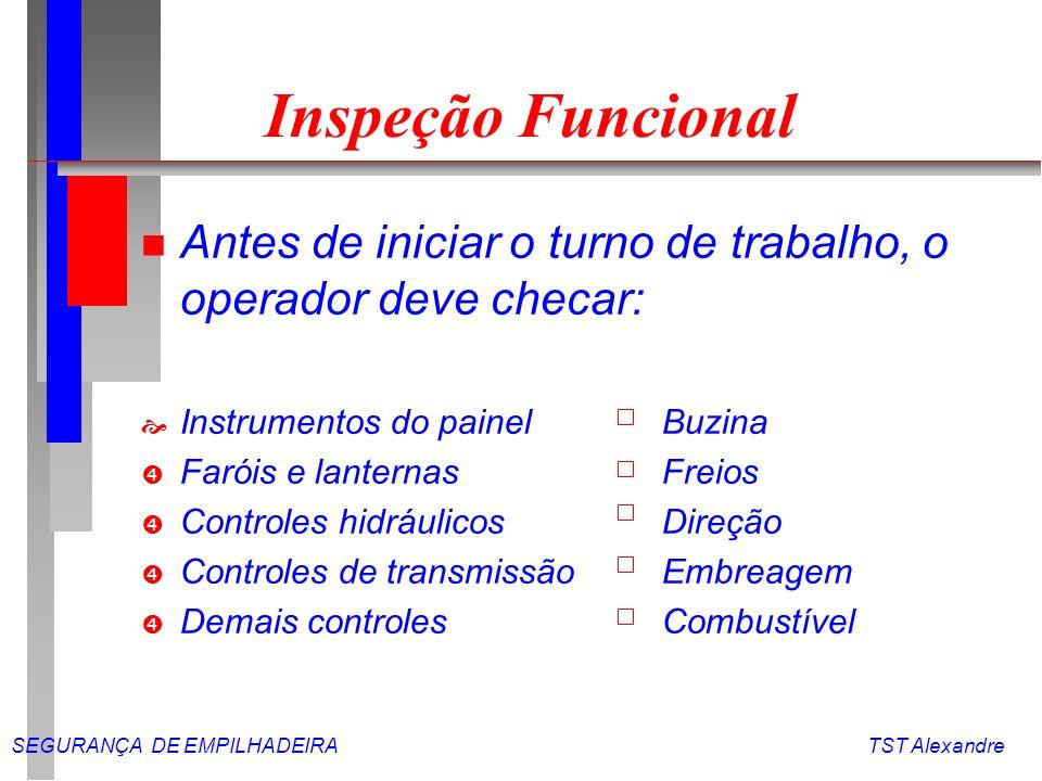 Inspeção Funcional Antes de iniciar o turno de trabalho, o operador deve checar: Instrumentos do painel Buzina.