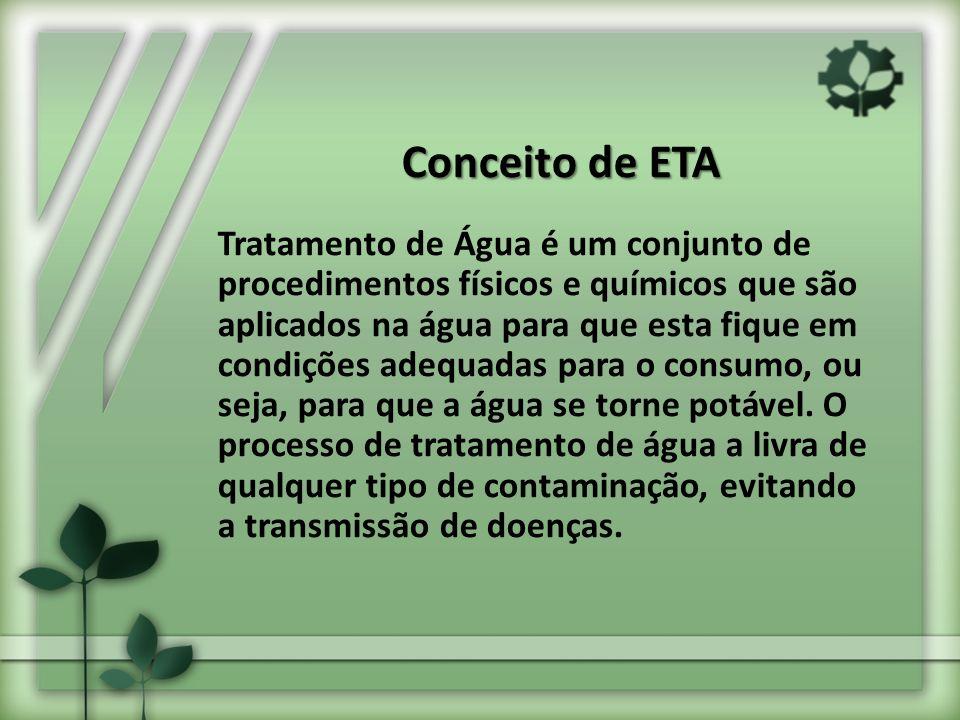 Conceito de ETA Tratamento de Água é um conjunto de procedimentos físicos e químicos que são aplicados na água para que esta fique em condições adequadas para o consumo, ou seja, para que a água se torne potável.