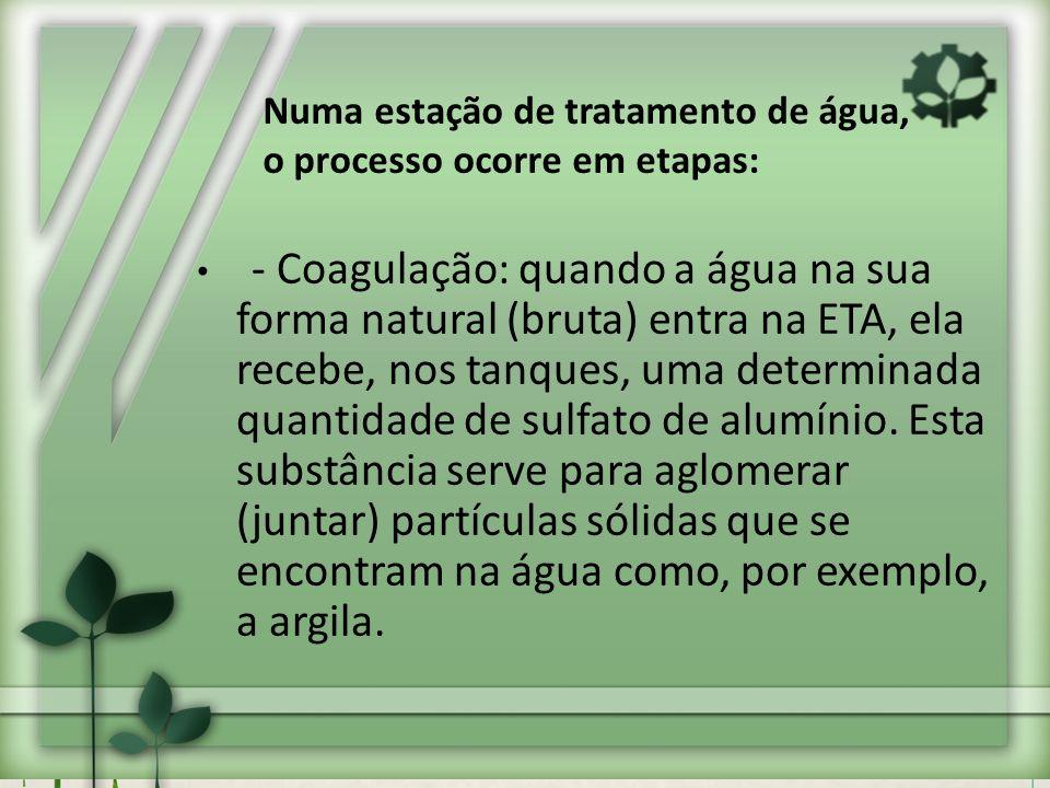 Numa estação de tratamento de água, o processo ocorre em etapas: