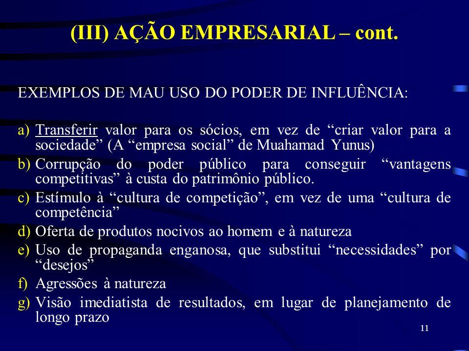 (III) AÇÃO EMPRESARIAL – cont.