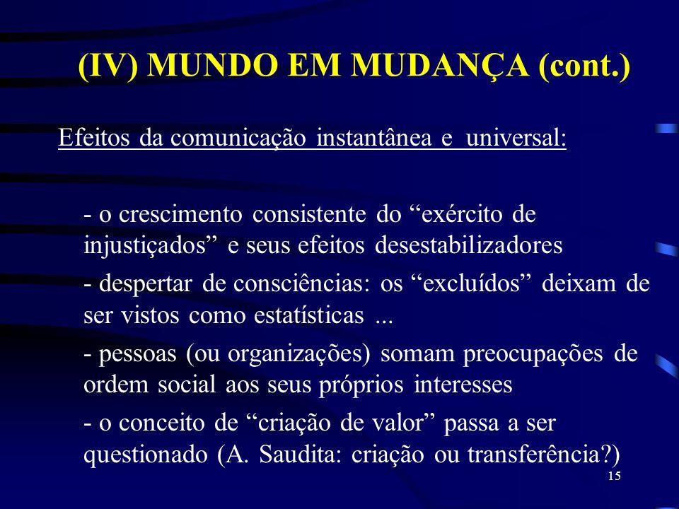 (IV) MUNDO EM MUDANÇA (cont.)