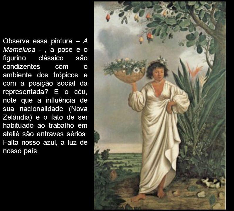 Observe essa pintura – A Mameluca - , a pose e o figurino clássico são condizentes com o ambiente dos trópicos e com a posição social da representada.