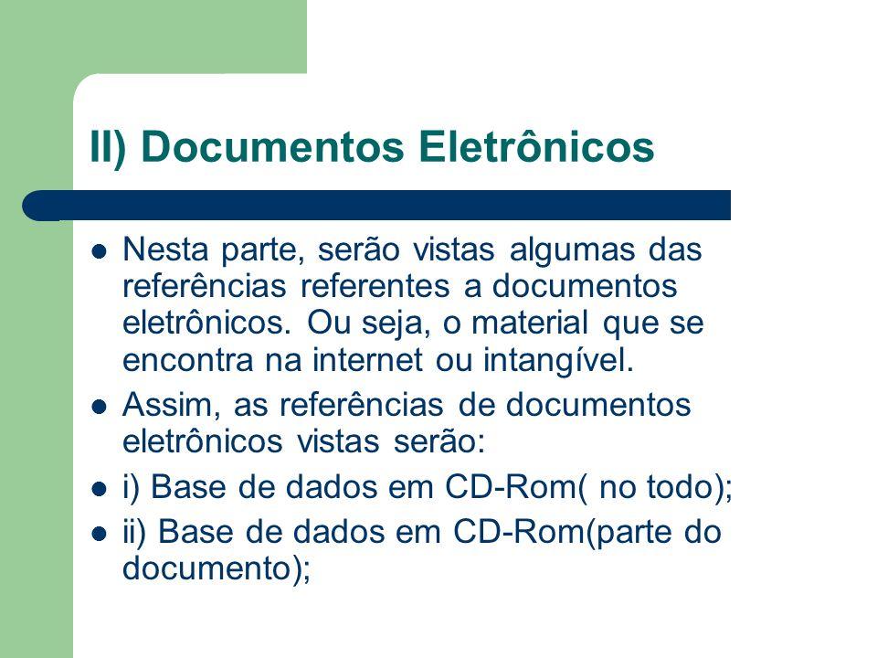 II) Documentos Eletrônicos