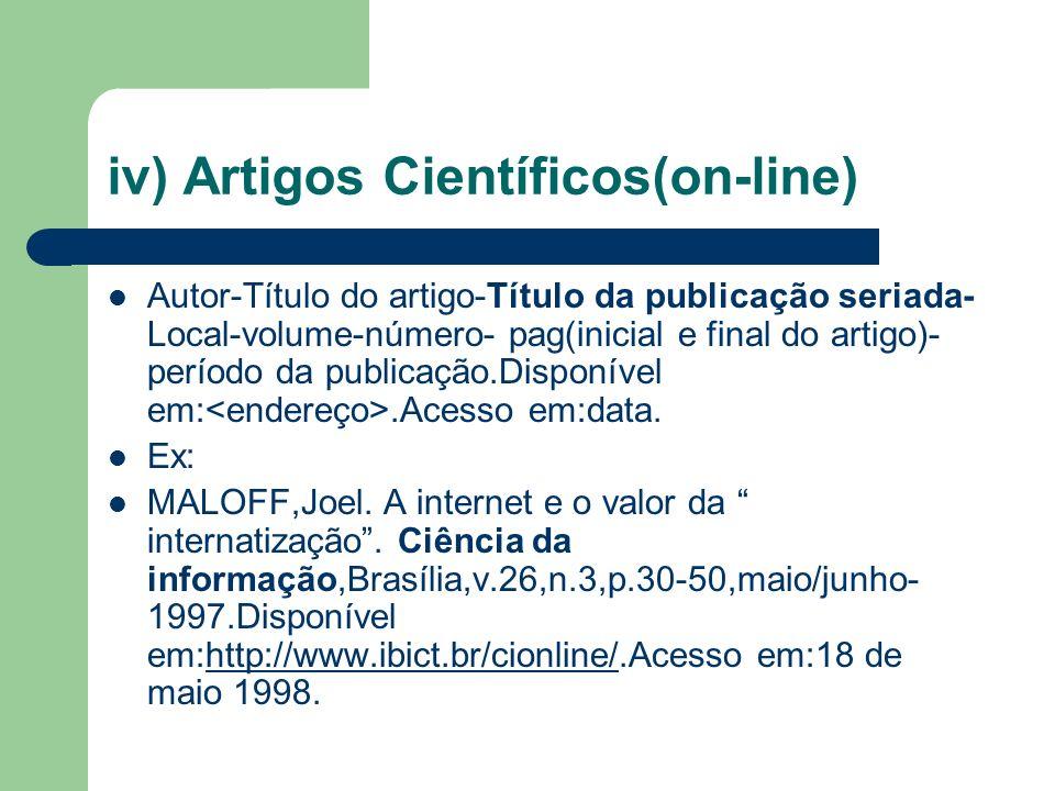 iv) Artigos Científicos(on-line)