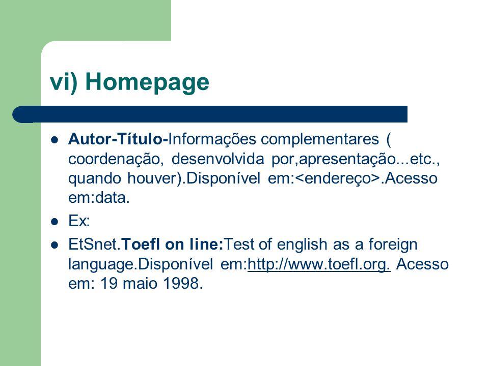 vi) Homepage