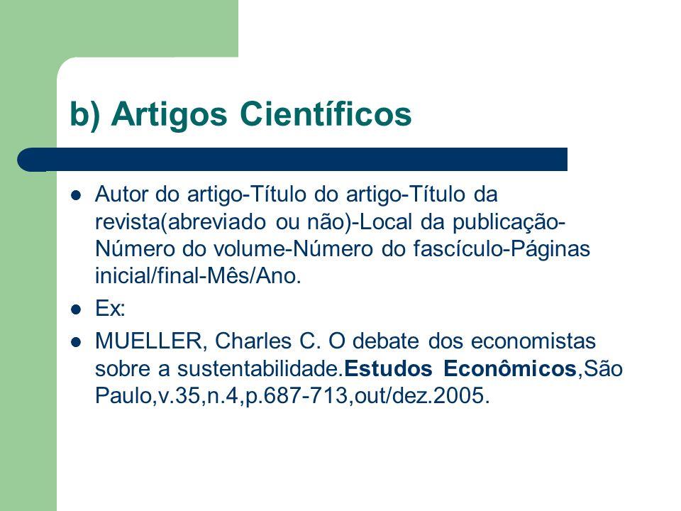 b) Artigos Científicos
