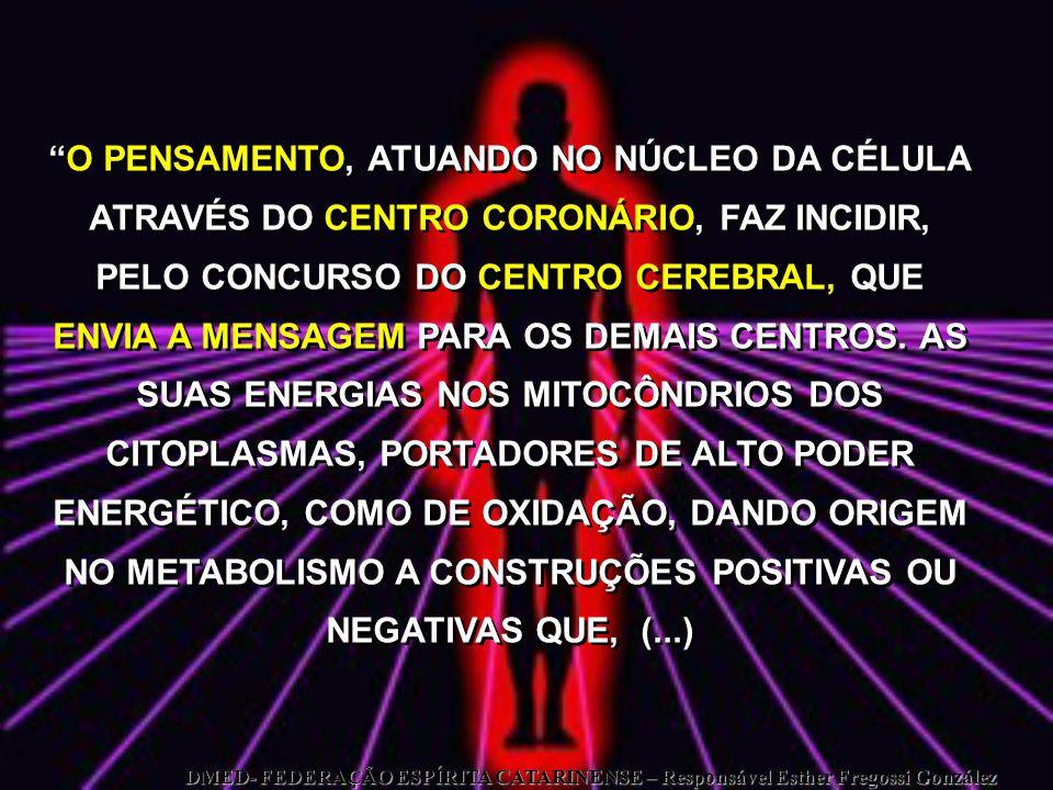 O PENSAMENTO, ATUANDO NO NÚCLEO DA CÉLULA ATRAVÉS DO CENTRO CORONÁRIO, FAZ INCIDIR, PELO CONCURSO DO CENTRO CEREBRAL, QUE ENVIA A MENSAGEM PARA OS DEMAIS CENTROS. AS SUAS ENERGIAS NOS MITOCÔNDRIOS DOS CITOPLASMAS, PORTADORES DE ALTO PODER ENERGÉTICO, COMO DE OXIDAÇÃO, DANDO ORIGEM NO METABOLISMO A CONSTRUÇÕES POSITIVAS OU NEGATIVAS QUE, (...)