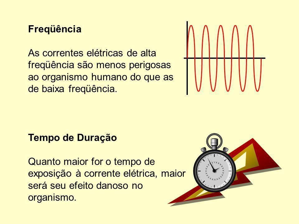 Tempo de Duração Quanto maior for o tempo de exposição à corrente elétrica, maior será seu efeito danoso no organismo.