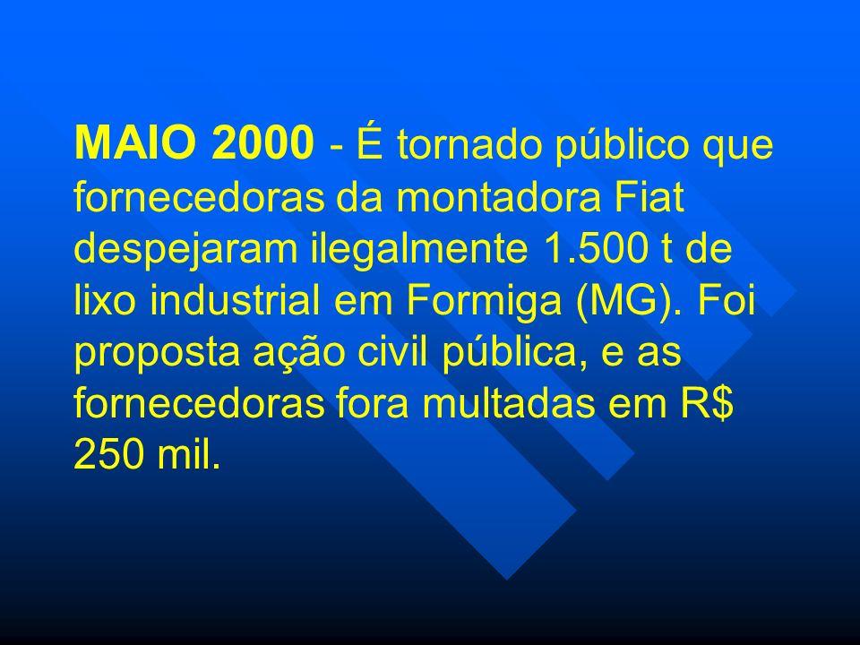 MAIO 2000 - É tornado público que fornecedoras da montadora Fiat despejaram ilegalmente 1.500 t de lixo industrial em Formiga (MG).