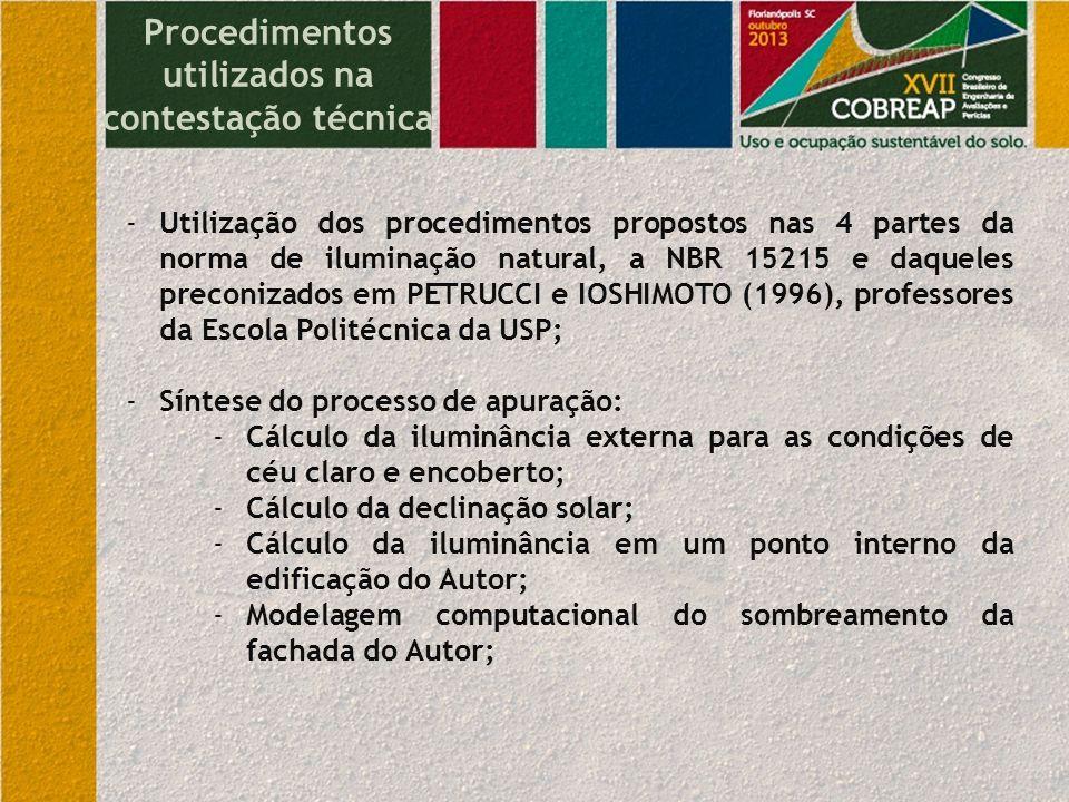 Procedimentos utilizados na contestação técnica