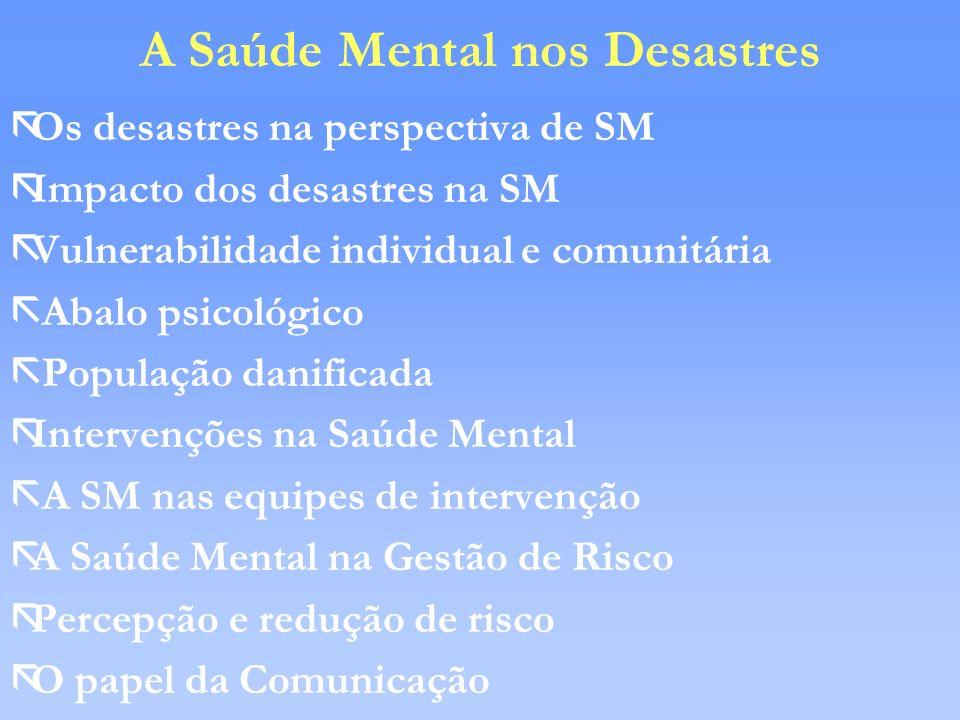 A Saúde Mental nos Desastres
