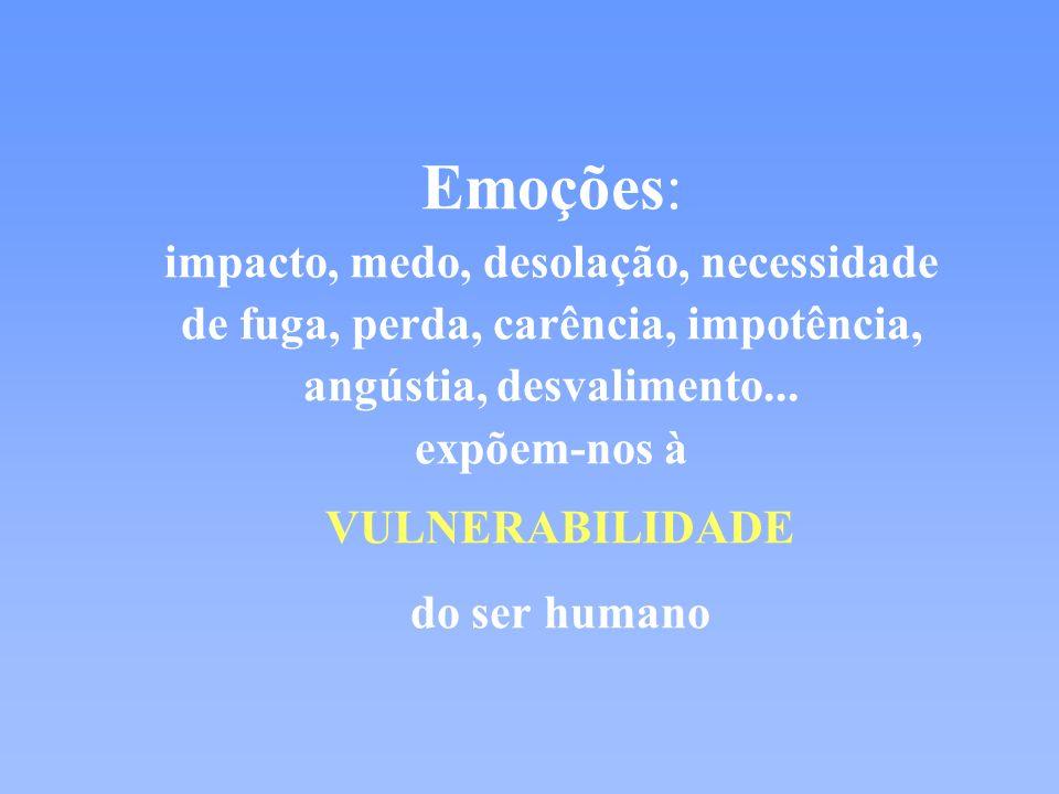 Emoções: impacto, medo, desolação, necessidade de fuga, perda, carência, impotência, angústia, desvalimento...