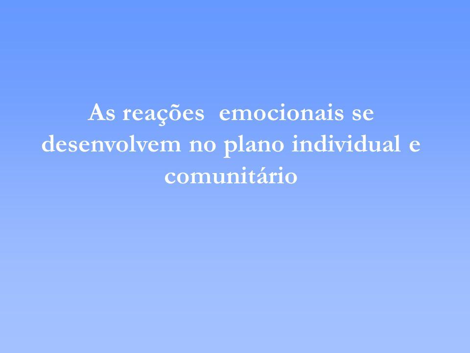 As reações emocionais se desenvolvem no plano individual e comunitário