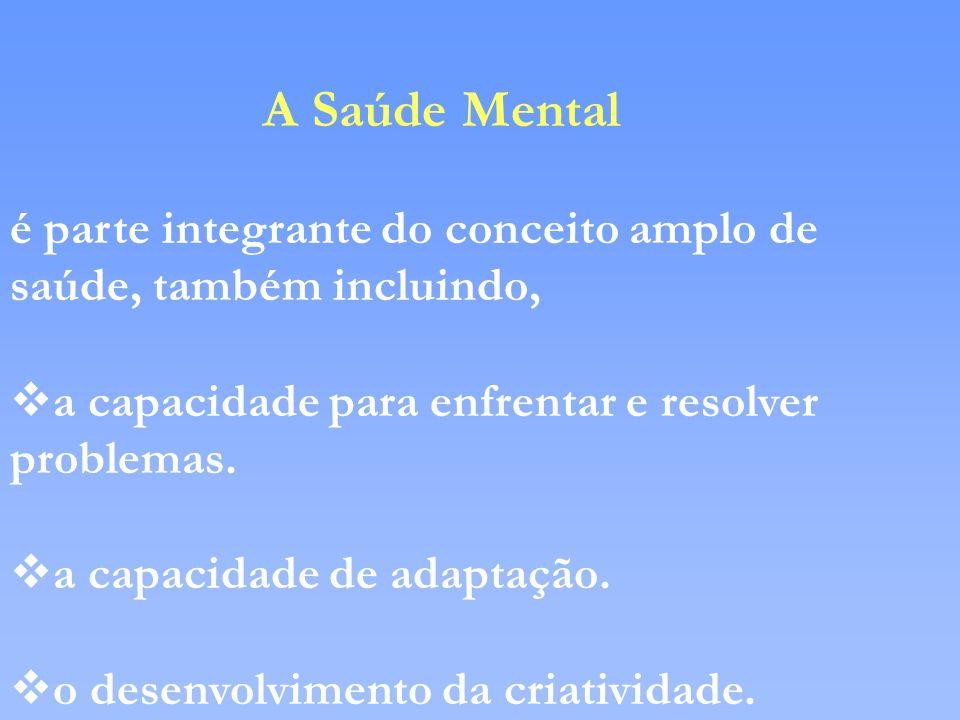 A Saúde Mental é parte integrante do conceito amplo de saúde, também incluindo, a capacidade para enfrentar e resolver problemas.