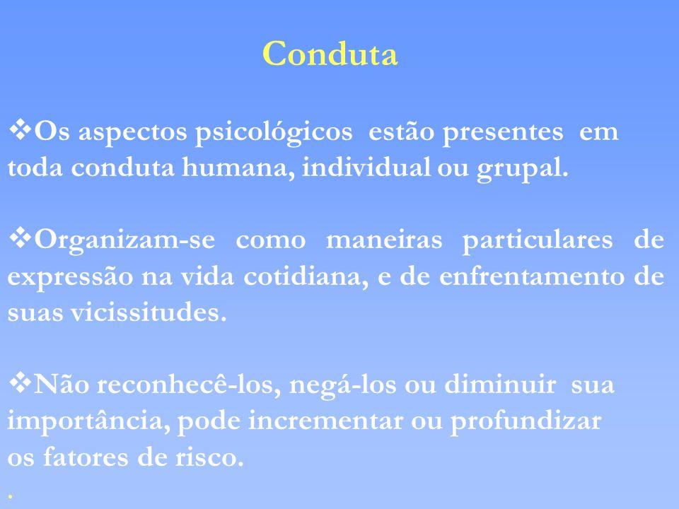 Conduta Os aspectos psicológicos estão presentes em toda conduta humana, individual ou grupal.