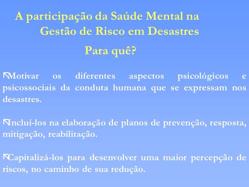 A participação da Saúde Mental na Gestão de Risco em Desastres