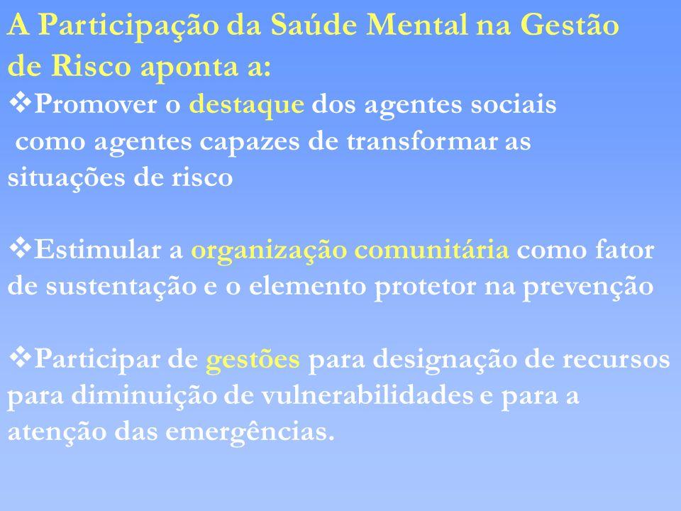 A Participação da Saúde Mental na Gestão de Risco aponta a: