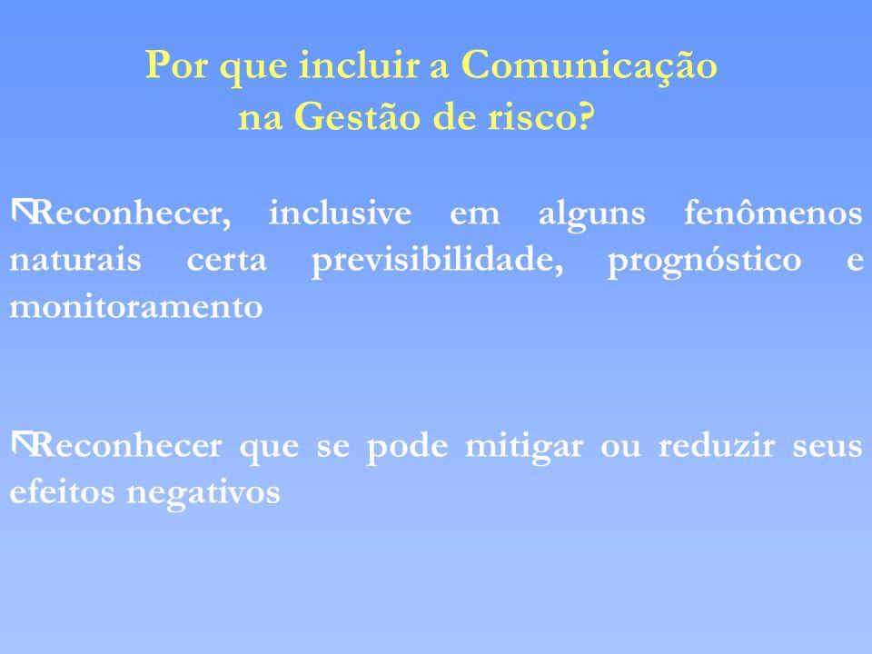 na Gestão de risco Por que incluir a Comunicação