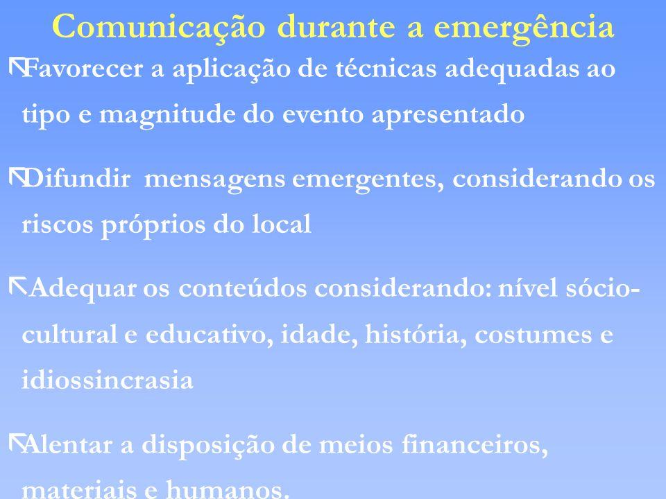 Comunicação durante a emergência