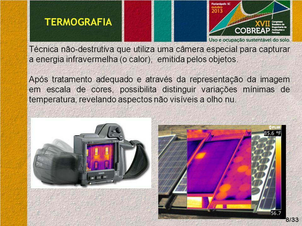 TERMOGRAFIA Técnica não-destrutiva que utiliza uma câmera especial para capturar a energia infravermelha (o calor), emitida pelos objetos.
