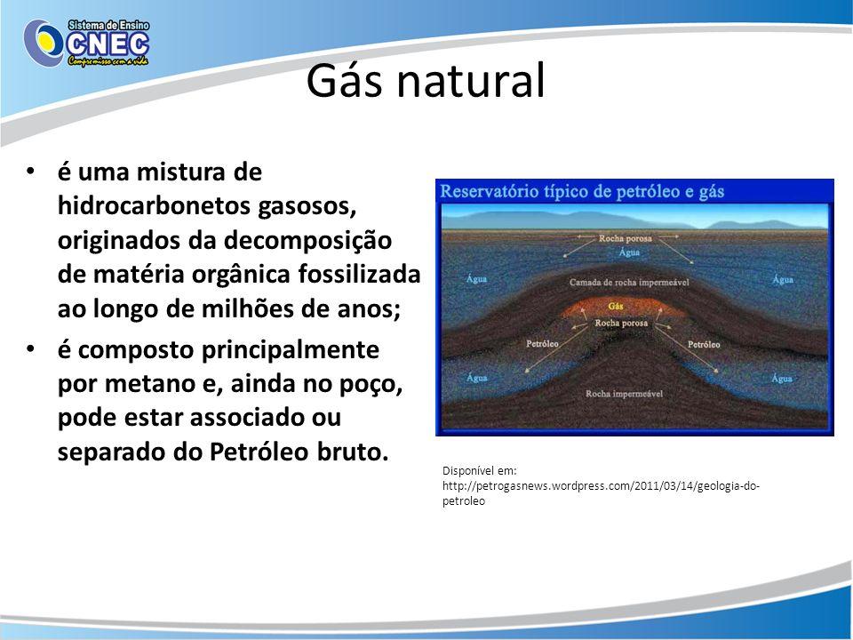 Gás natural é uma mistura de hidrocarbonetos gasosos, originados da decomposição de matéria orgânica fossilizada ao longo de milhões de anos;
