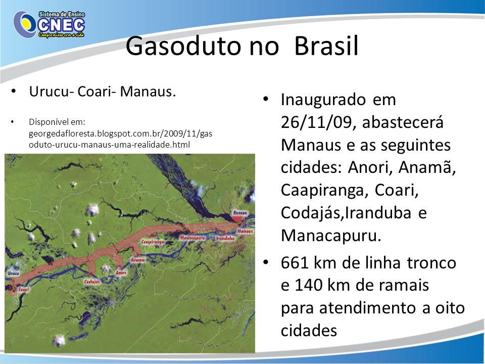 Gasoduto no Brasil Urucu- Coari- Manaus. Disponível em: georgedafloresta.blogspot.com.br/2009/11/gasoduto-urucu-manaus-uma-realidade.html.