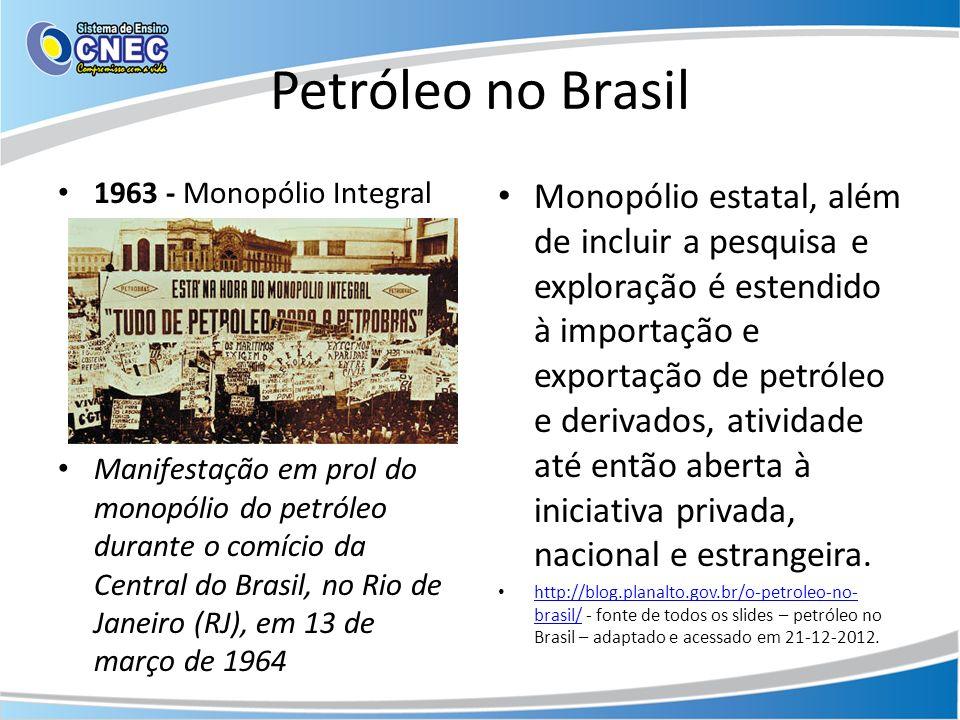 Petróleo no Brasil 1963 - Monopólio Integral.
