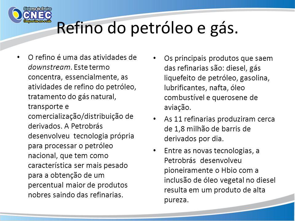 Refino do petróleo e gás.