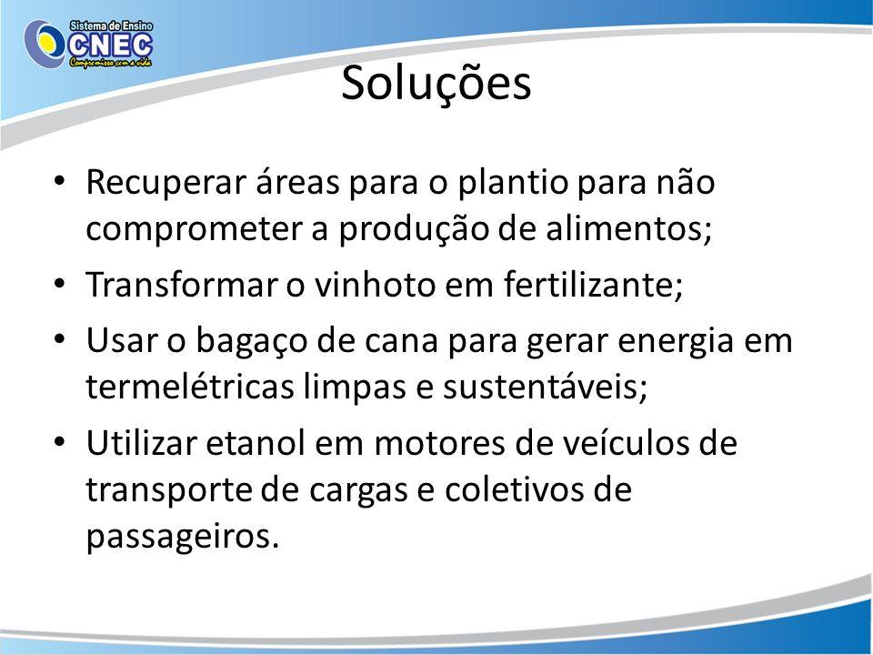 Soluções Recuperar áreas para o plantio para não comprometer a produção de alimentos; Transformar o vinhoto em fertilizante;