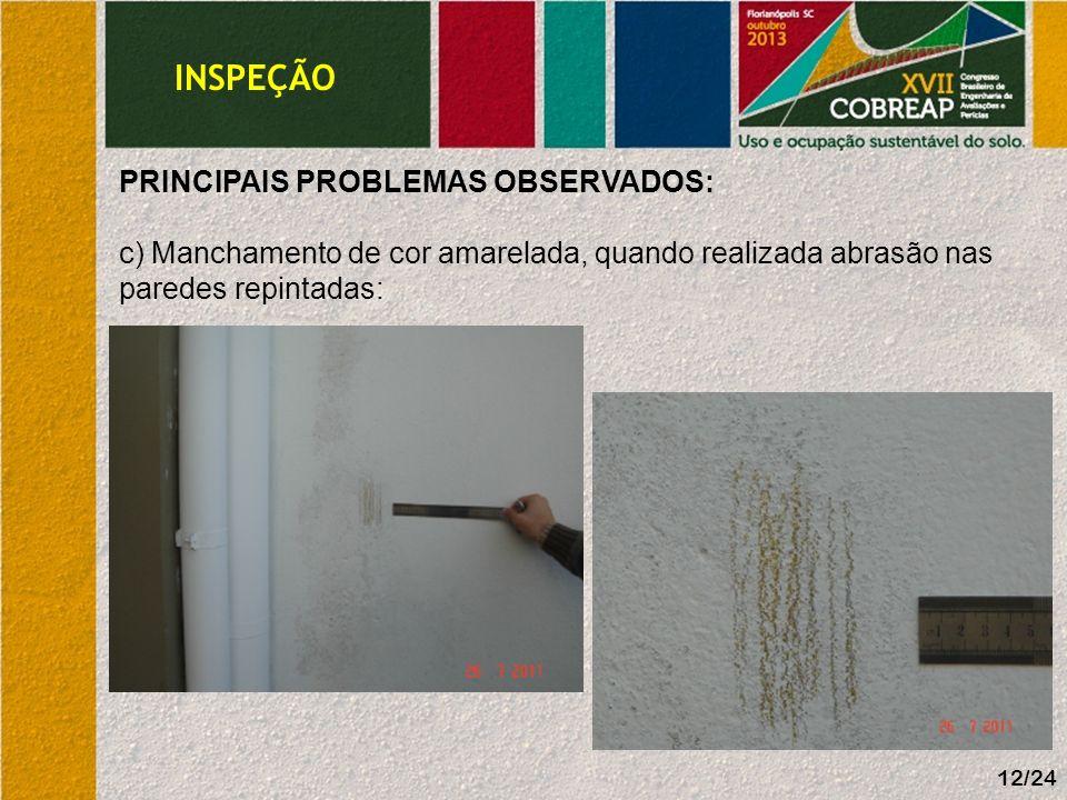 INSPEÇÃO PRINCIPAIS PROBLEMAS OBSERVADOS: