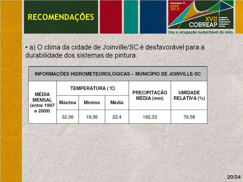 RECOMENDAÇÕES a) O clima da cidade de Joinville/SC é desfavorável para a durabilidade dos sistemas de pintura.