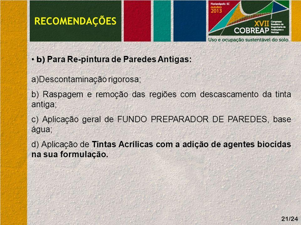 RECOMENDAÇÕES b) Para Re-pintura de Paredes Antigas:
