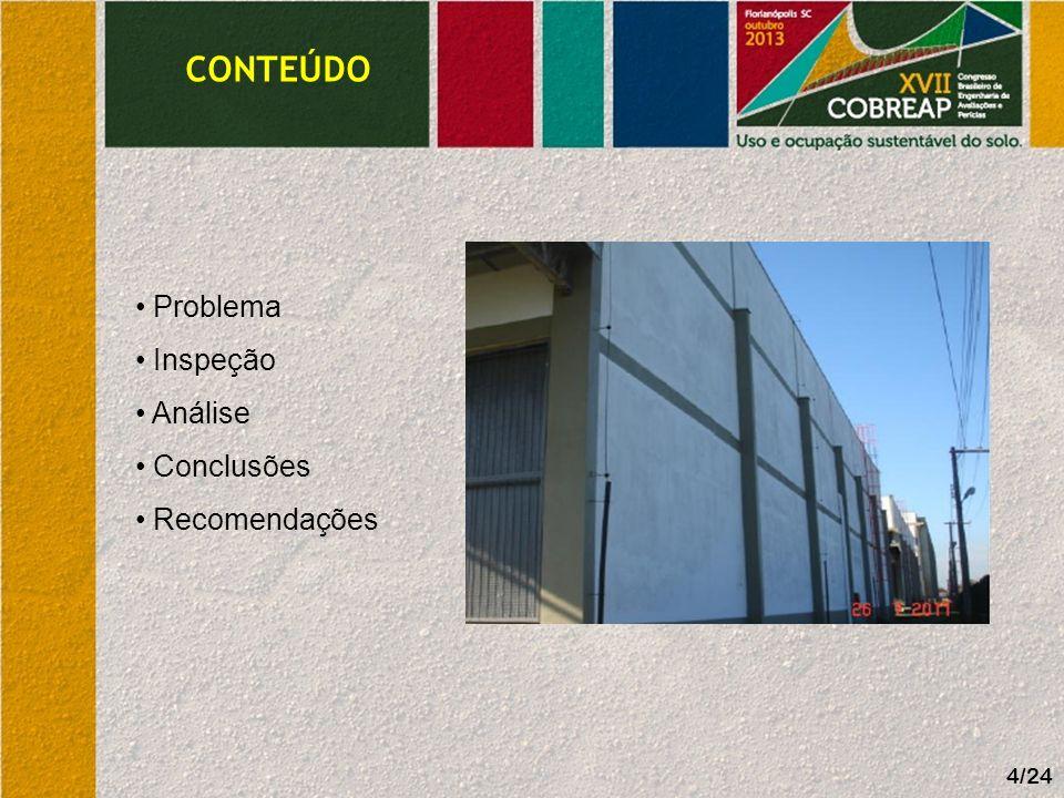 CONTEÚDO Problema Inspeção Análise Conclusões Recomendações 4/24