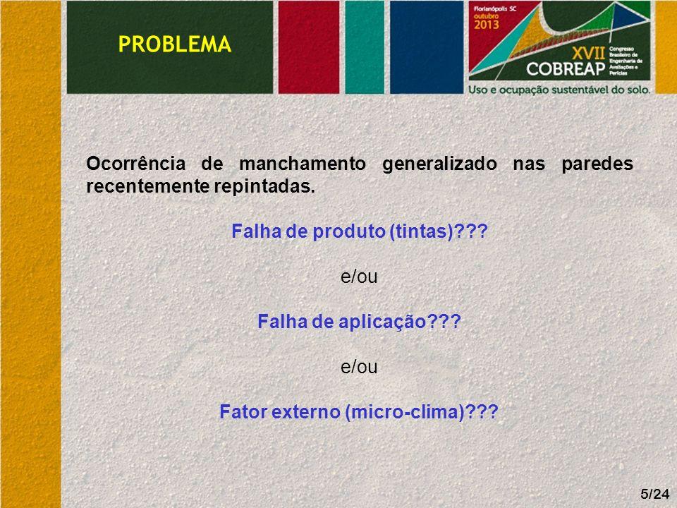 Falha de produto (tintas) Fator externo (micro-clima)