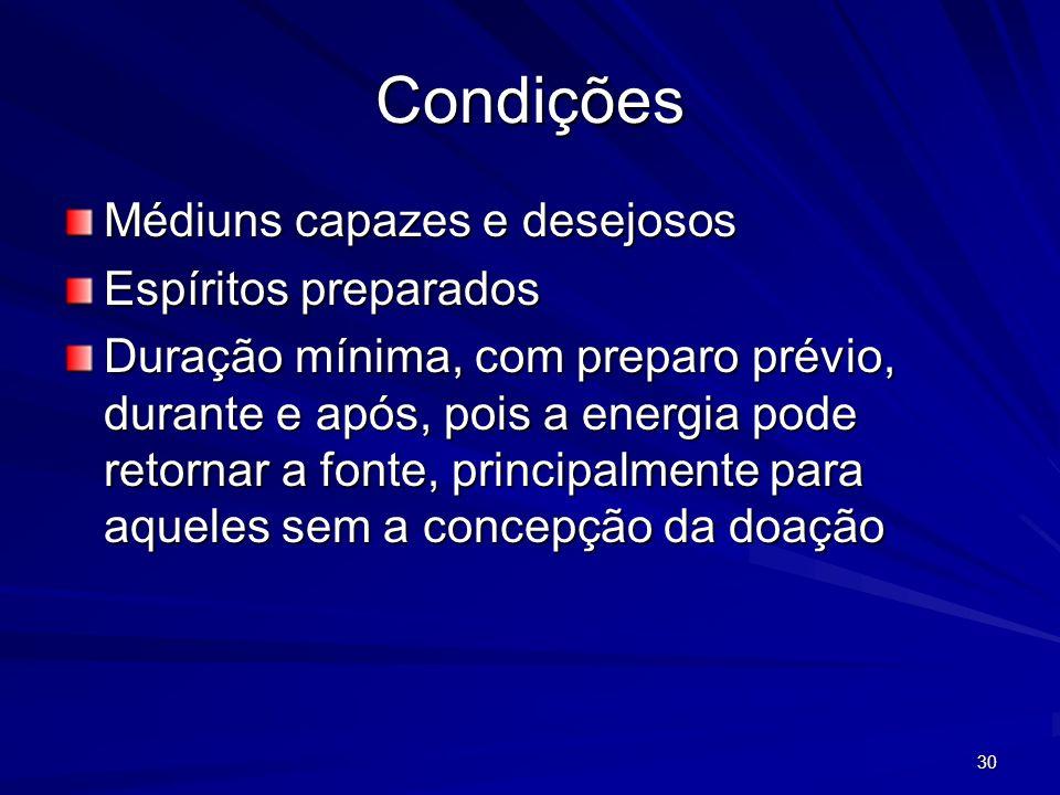 Condições Médiuns capazes e desejosos Espíritos preparados