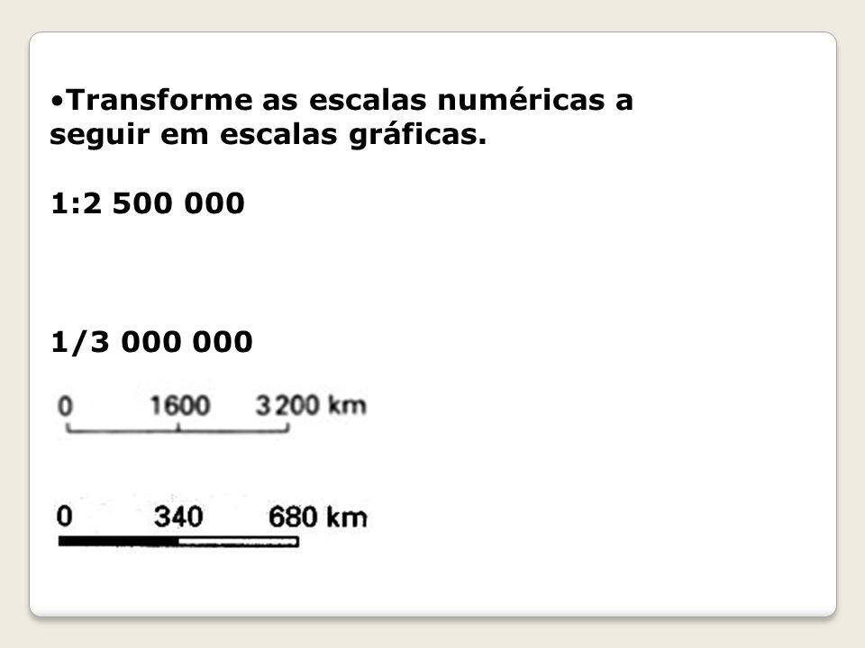 Transforme as escalas numéricas a seguir em escalas gráficas.