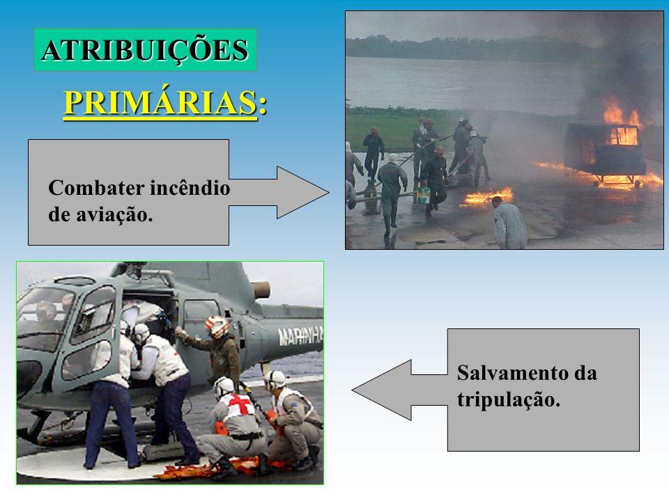 PRIMÁRIAS: ATRIBUIÇÕES Combater incêndio de aviação. Salvamento da