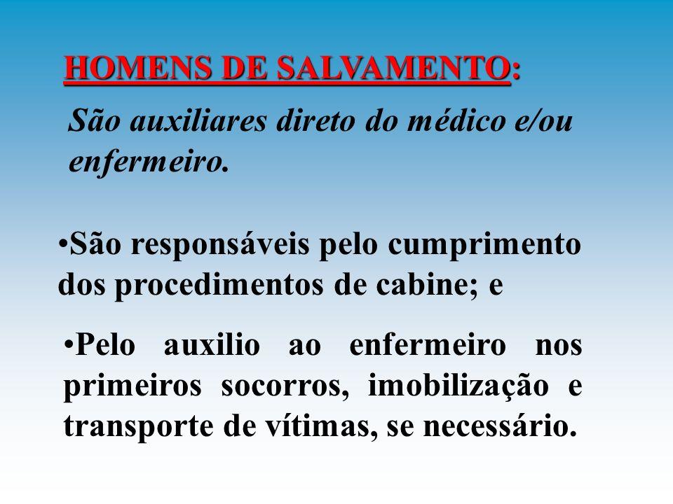 HOMENS DE SALVAMENTO: São auxiliares direto do médico e/ou enfermeiro. São responsáveis pelo cumprimento dos procedimentos de cabine; e.