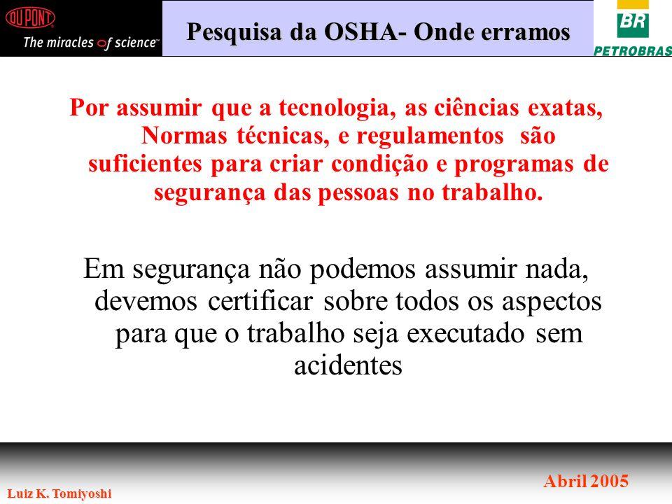 Pesquisa da OSHA- Onde erramos